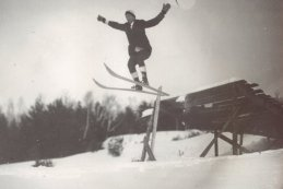 Vermonter Fred Harris built (and personally tested) his namesake ski jump in 1922. Photo courtesy of Dana Sprague.