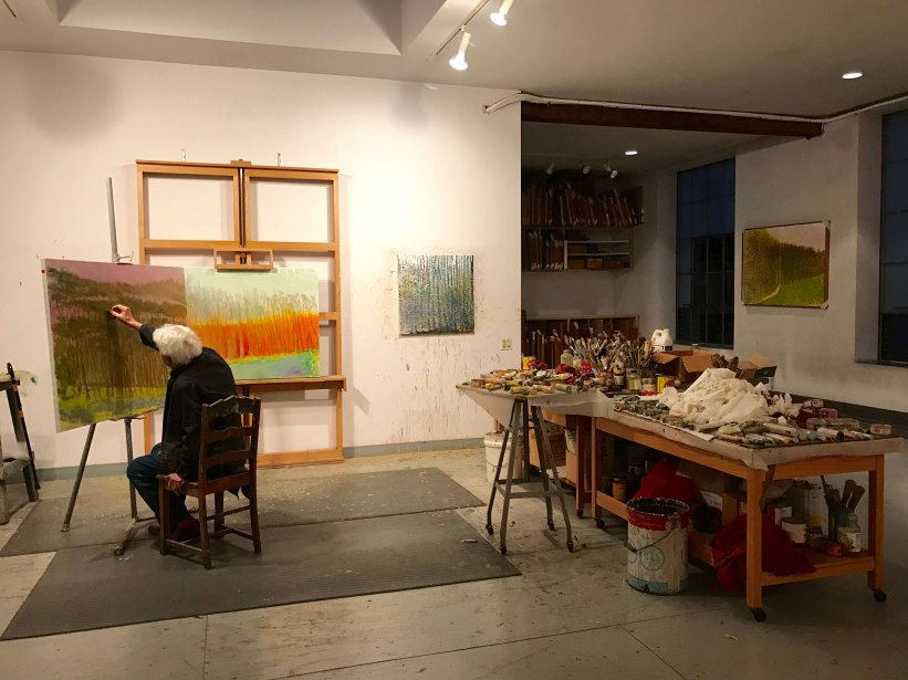 Artist Wolf Kahn spends winter and spring in his New York City studio (pictured here) and summer and fall in Vermont. Photo: Diana Urbaska.