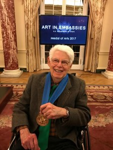 Artist Wolf Kahn displays his U.S. State Department International Medal of Arts at a January ceremony in Washington, D.C. Photo: Melany Kahn.