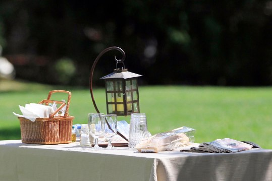 Table settings on the lawn at Tanglewood in Lenox, Mass. Photos: Stephanie Zollshan.