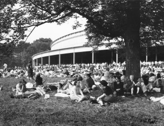 The Tanglewood lawn wasn't always the manicured expanse that it is today. Photo by BSO Archives/Howard S. Babbitt Jr., circa 1946. Used by permission of the Babbitt family.