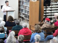 """Daniel Smith, author of """"Monkey Mind: A Memoir of Anxiety,"""" speaks at Brattleboro's Brooks Memorial Library. Photo: Kevin O'Connor"""
