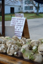 Turnips for sale at the Gilfeather Turnip Festival. Photo courtesy of Friends of the Wardsboro Library.