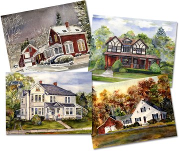 "Be the holiday hero of your family! Is there someone special who would love to have a painting of their beloved family home? Marguerite Bride is well-known for her custom house portraits and her ""Local Color"" scenes of the Berkshires. Gift certificates are also available and give the recipient the joy of planning the painting with the artist…like two gifts in one! Art is a cherished and personal gift and will be loved for generations to come. Paintings can show any season and time of day, and include special items such as pets and vehicles. Price varies with size and complexity. Paintings come with permission to reproduce image for your own use. Gift certificate includes attractive custom gift certificate and plenty of information. Reprints are always available. Marguerite Bride, Berkshire Artist413-442-7718 MargeBride-Paintings.com"
