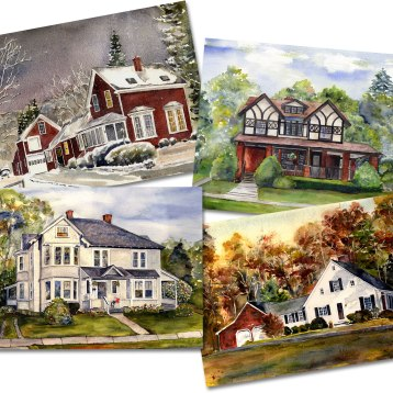 """Be the holiday hero of your family! Is there someone special who would love to have a painting of their beloved family home? Marguerite Bride is well-known for her custom house portraits and her """"Local Color"""" scenes of the Berkshires. Gift certificates are also available and give the recipient the joy of planning the painting with the artist…like two gifts in one! Art is a cherished and personal gift and will be loved for generations to come. Paintings can show any season and time of day, and include special items such as pets and vehicles. Price varies with size and complexity. Paintings come with permission to reproduce image for your own use. Gift certificate includes attractive custom gift certificate and plenty of information. Reprints are always available. Marguerite Bride, Berkshire Artist413-442-7718 MargeBride-Paintings.com"""