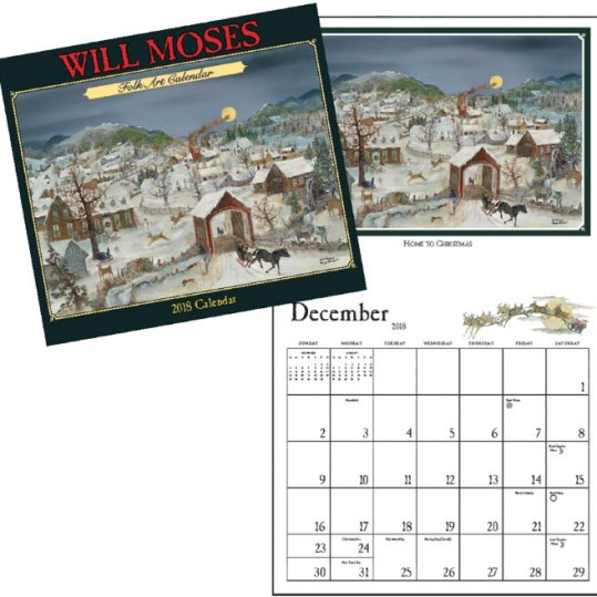 """Twelve color images, one for each month. Open size 13"""" wide, 23 1/4"""" long. A full year of dates and moon phases. Made in the USA. Don't take chances — play it safe and get a good calendar. $15 each. Two or more: $12 each. Will Moses at Mt. Nebo Gallery 60 Grandma Moses Road, Eagle Bridge, N.Y. 1-800-328-6326 willmoses.com"""