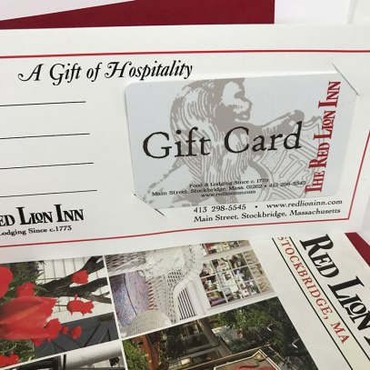 A visit to the iconic Red Lion Inn is the perfect gift for family and friends. Use our Gift Card for the Main Dining Room, Widow Bingham's Tavern, the Lion's Den, and the Red Lion Gift Shop, or for a truly memorable gift, an overnight at our historic Inn. It's a gift they will always treasure. Order online or by calling 413-298-5545. The Red Lion Inn 30 Main St., Stockbridge, Mass. www.redlioninn.com