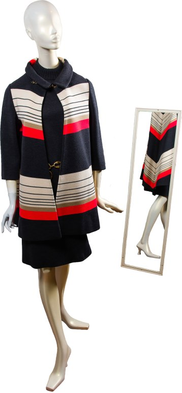 Vintage, retro-inspired, autumn-friendly three-piece ensemble complete with gold jewelry accent pieces and beautiful striped detail that is not just slimming, but eye-catching! Boho Exchange 252 Main St., Great Barrington, Mass. 413-528-4500