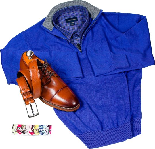 Cotton-cashmere quarter zip pullover with 100% cotton wrinkle-free sport shirt and cap toe cognac shoes from Florsheim. Pullover: $99.50. Outfit: $325. Steven Valenti's Clothing 157 North St., Pittsfield, Mass. 413-443-2569 stevenvalenticlothing.com