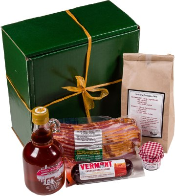 Includes: 12 oz. Green Mountain Smokehouse Maple Cured Bacon, Yankee Magazine's 2014 Editor's Choice Food Award; 1 pound package of Helen's Pancake Mix; 16.9 growler bottle of 100% pure Robb Family Farm maple syrup; 8 oz. Vermont Smoke and Cure Summer Sausage; 1 oz. jar of Sidehill Farm jam. $49.95. The Robb Family Farm 822 Ames Hill Road, Brattleboro, Vt. 802-257-0163 robbfamilyfarm.com