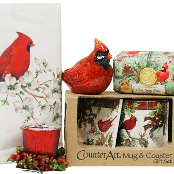 Includes coaster, mug and candle with a beautiful and unique Christmas theme suitable for the holidays or as everyday gifts and home decor. $62.50.The Gift Garden431 Main St., Bennington, Vt.802-447-7222 thegiftgardenvt.com