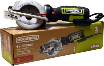 "Rockwell 4 1/2"" compact circular saw. 3,500 rpm, 5 amp motor, 1 11/16"" max cutting depth at 90 degrees. 1 1/8"" cutting depth at 45 degrees. Weighs only 5 pounds. Left handed blade design for great cut-line visibility. Includes (1) 24 teeth TCT blade, rip fence, vacuum adapter and hex key. Durable steel shoe resists scratching when cutting tile and masonry. $79.99.L.P. Adams Co., Inc.484 Housatonic St., Dalton, Mass.413-684-0025 lpadams.com"