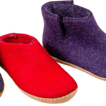 Snuggle up in these Danish-designed slippers made from the finest 100% natural Gotland wool. Flexible calfskin or natural rubber soles. $95- $135. The Shoe Tree 135 Main St., Brattleboro, Vt. 802-254-8515