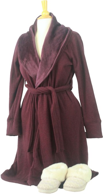 The Duffield Robe makes lounging at home feel like relaxing at a five-star hotel. Featuring cotton jersey lined with irresistibly soft fleece, this robe wraps the body in warmth and softness. Add the Wrin Icelandic knit and fluffy sheepskin collar slippers and you are ready for the perfect warm weather. Wrin epitomizes free-spirited ease. A molded rubber outsole makes this slipper perfect for lounging at home or wandering outdoors. Slippers are made from sheepskin, acrylic, nylon, wool and spandex with decorative foxing stitch, UGGpure™ wool lining and UGGpure™ wool insole. Robe: $125. Slippers: $120. Cranwell Resort Spa & Golf Club 55 Lee Road, Lenox, Mass. 413-881-0722 cranwell.com