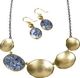 Handmade lilypod necklace and earrings by California artist, Sarah Richardson. Necklace: $495. Earrings: $148 Hoadley Gallery 21 Church St., Lenox, Mass. 413-637-2814 hoadleygallery.com