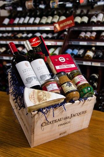 Dress up the holidays with a little joie de vivre from Nejaime's Wine Cellars! Chateau Peynaud Red & White Bordeaux pair beautifully with Brie Tour de Marze, Trois Petit Cochons Toasts & Cornichon, Henaff Pork Rillette, Musette Dijon Mustard, & a Cote D'or Dark Chocolate bar et voila! $59.99. Nejaime's Wine Cellars 60 Main St., Lenox, Mass. 413-637-2221 nejaimeswine.com