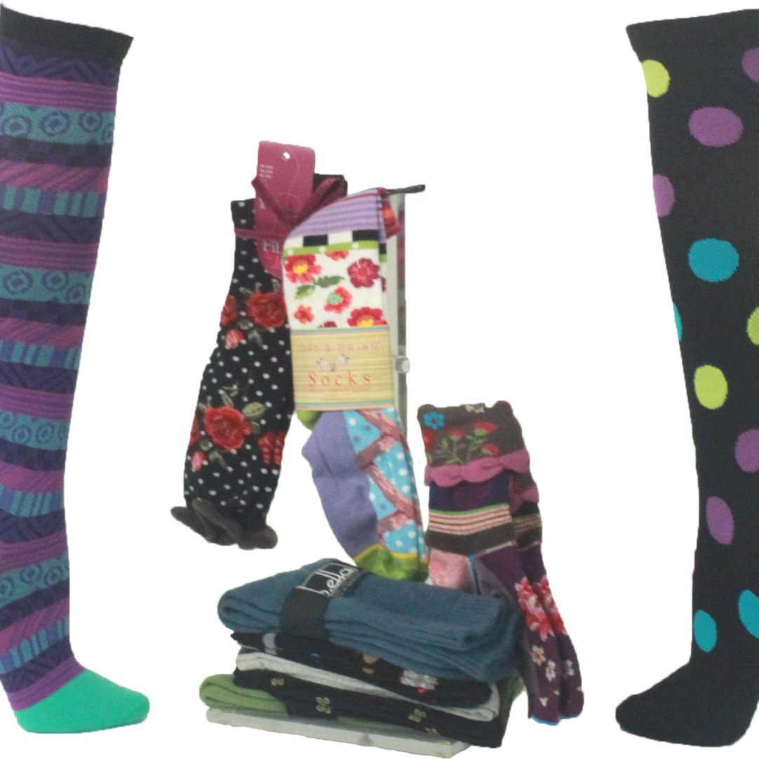 Whimsical print socks for every lifestyle! Compression knee-highs help with circulation and prevent tiredness, great for travel or when you're on your feet all day. Available in a wide range of fashion prints. Cashmere crew socks are available in solid colors and great for comfort and warmth. $15.95-$42 Purple Plume 35 Church St., Lenox, Mass. 413-637-3442