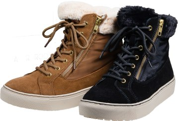 Waterproof sport sneaker boot featuring faux fur lining and suede nylon upper. Available in tan or black. $130. Shooz 44 Housatonic St., Lenox, Mass. 413-637-1118