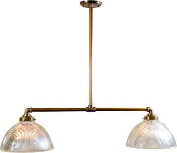 This billiard is made from new brass pipe and features two vintage holophane shades the