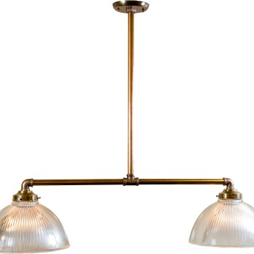 This billiard is made from new brass pipe and features two vintage Holophane shades. The fixture is customizable in height, width, and finish to fit the needs of the client. $495.Clark Vintage Lighting LLC342 North St., Pittsfield, Mass.413-344-4491 clarkvintage.com