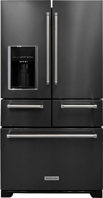 Part of the manufacturer's new black stainless steel collection, this French door refrigerator also debuts the first five-door design sold in the U.S. Instead of a single temperature-controlled drawer above the freezer, the KRMF706EBS sports two, so you can store your kids' snacks and hors d'oeuvres for your dinner party. MSRP $3,999. Mike's Maytag 14 Gordon St., Pittsfield, Mass. mikesappliancema.com