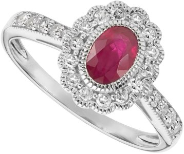 A stunning genuine red ruby is nestled inside a halo of gorgeous white diamonds. The well crafted 14k white gold ring also contains four more diamonds, of the same great quality, set down both shanks. The fine ruby was hand-picked for this setting. $1,399. RJ Stohr Diamonds & Fine Jewelry 137 North St., Pittsfield, Mass. 413-447-9023 facebook.com/rjstohrjewelry