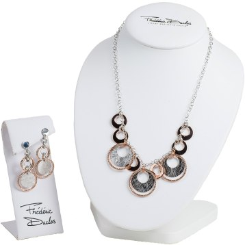 Sterling silver with textured silver discs and rose gold accents. Necklace: $225. Earrings: $135. Charland Jewelers 875 Dalton Ave, Pittsfield, Mass. 413-445-6817 charlandjewelers.biz