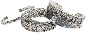 Bracelets, necklaces and earrings handmade in Bali from sterling silver. Starting at $135. Charland Jewelers 875 Dalton Ave, Pittsfield, Mass. 413-445-6817 charlandjewelers.biz