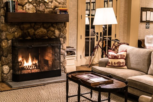 Enjoy the crackling fireplace in the Kimpton Taconic Hotel's lounge, and even check out a staff pick from The Northshire Bookstore while you relax.