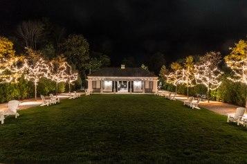 Lights alongside the pool pavilion make for magical evenings.