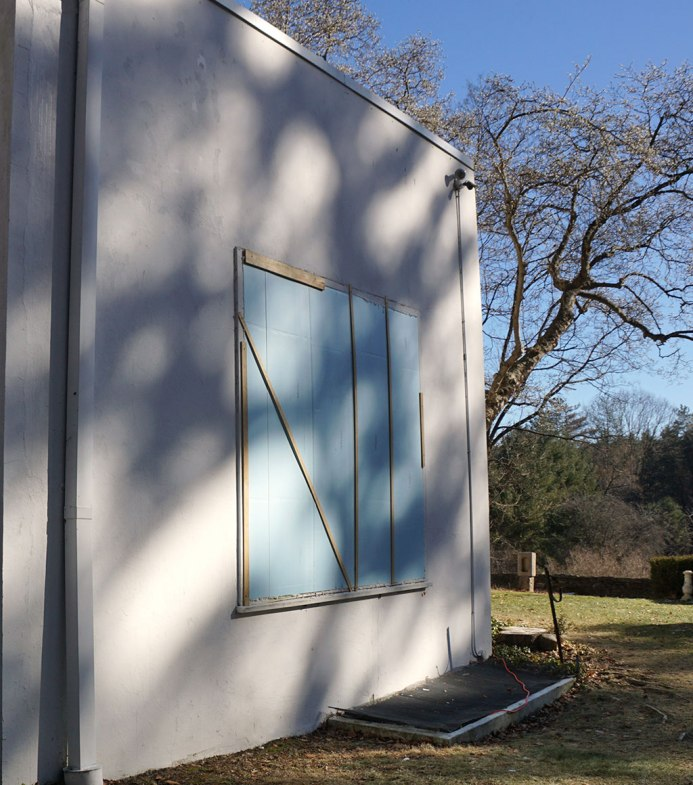 A large window at Frelinghuysen Morris House and Studio was boarded up for the winter in appropriately abstract style. Photos: Ruth Bass