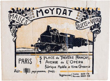 Moynat Label: Josephine would have purchased this trunk from the Moynat Parisian boutique, the only place it was possible to purchase a genuine Moynat trunk. It is believed she purchased the trunk in 1918 on her way home from Paris. She made yearly trips abroad and was known to stay at the Crillon Hotel in Paris. Photo: Stephanie Zollshan