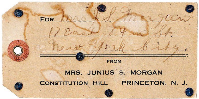 Mailing Label: This mailing label shows that Mrs. Junius Morgan shipped the trunk from her Princeton estate, Constitution Hill, to her New York apartment at 17 East 84th Street. Josephine spent the winters at her New York apartment, as it was too expensive to heat and maintain the New Jersey mansion during the latter months of the year. Photo: Stephanie Zollshan