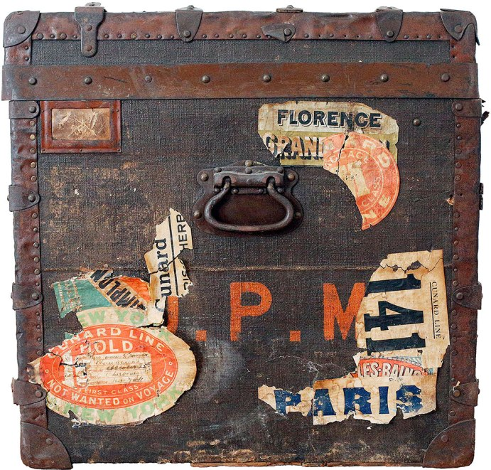 """Oval Cunard Line Labels: Josephine Morgan traveled frequently to Europe on the Cunard Line, a British cruise ship line. She traveled by Cunard Line in 1918, as well as in 1921, 1922 and 1924. Two """"hold"""" baggage stickers show she traveled first class on the """"RMS Berengaria"""" leaving Cherbourg, Normandy, France on Oct. 25, 1924 and arriving in port of New York on Nov. 1, 1924. J.P.M.: The initials of Josephine Adams Perry Morgan, Princeton socialite and estranged wife of financier Junius Spencer Morgan, nephew of the famous banker J.P. Morgan. Photo: Stephanie Zollshan"""