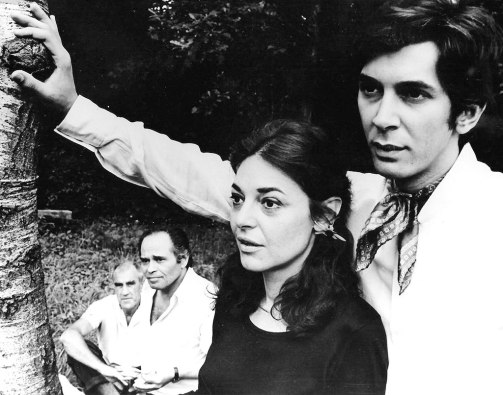 """William Gibson, unknown actor, Anne Bancroft and Frank Langella in """"A Cry of Players,"""" 1968. Photo courtesy of BTF."""