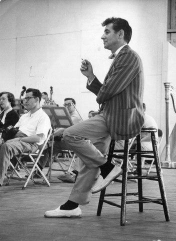 Leonard Bernstein at Tanglewood, circa 1955. Berkshire Festival photo.