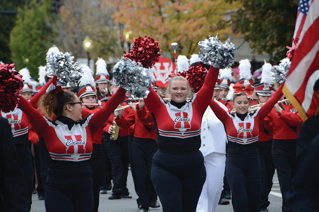 The Hoosac Valley High School Marching Band walks down Main Street in North Adams, Mass., for the 61st annual Fall Foliage Parade. Photo: Gillian Jones.