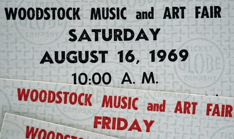 Lax ticket-taking saved these four original Woodstock tickets, ordered through the mail by concert attendee and New England Newspapers publisher Fredric Rutberg. Photo: Ben Garver.