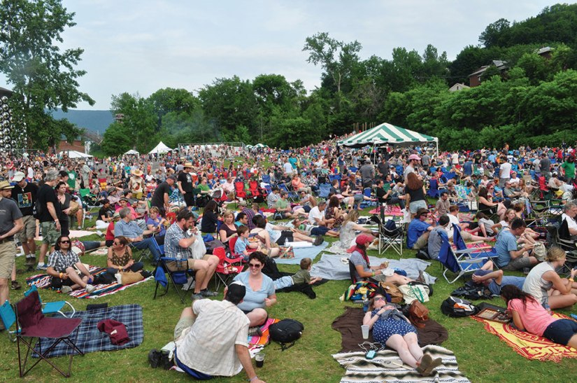 Joe's Field fills up with people as Neko Case takes the stage during Solid Sound in 2013. Berkshire Eagle File Photo