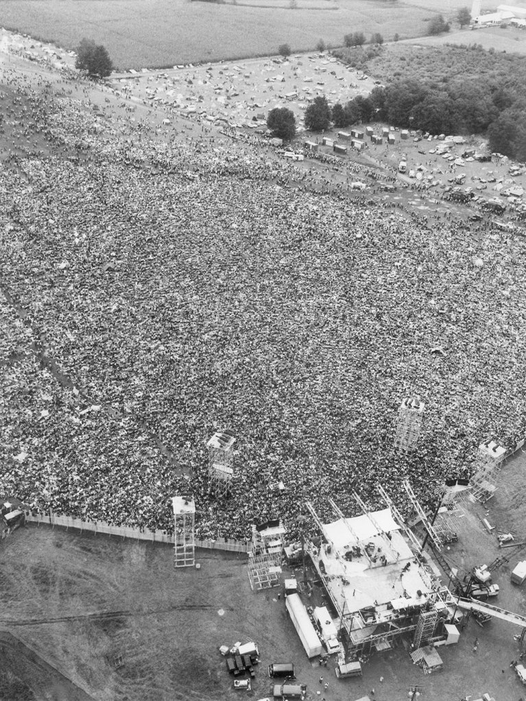 Thousands of rock music fans are packed around the stage in a field near Bethel, N.Y. on Aug. 16, 1969. A throng estimated at 300,000 persons converged on the area creating a gigantic jam of traffic and humanity over many miles and threatening the safety of many of them. Land transportation was impossible and an airlift of food and medical supplies has been rushed into operation. Photo: The Associated Press
