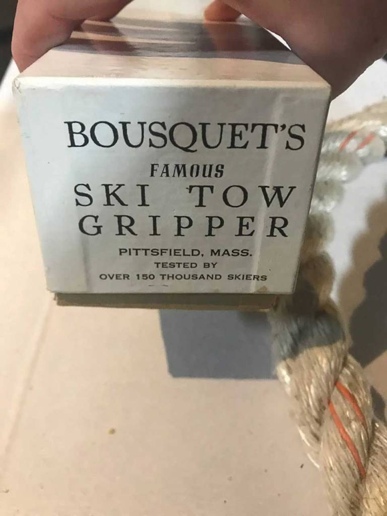 Bousquet's Ski Tow Gripper is still used by the Mount Greylock Ski Club in Williamstown, Mass.. Clare Bousquet, who opened Bousquet's Ski Area in Pittsfield, Mass., invented the tow gripper to make it easier to use a ski tow rope.