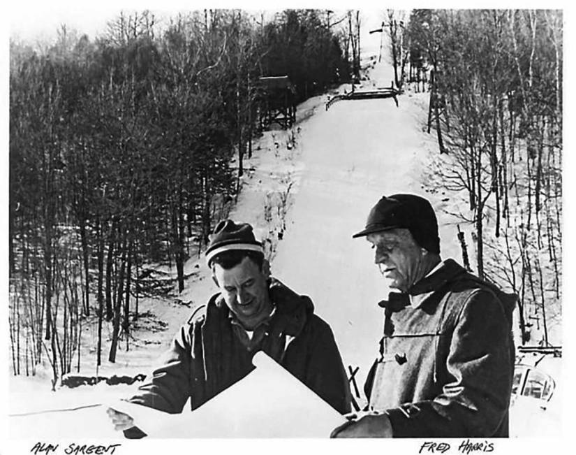 Fred Harris, right, looks over plans with Alan Sargent.