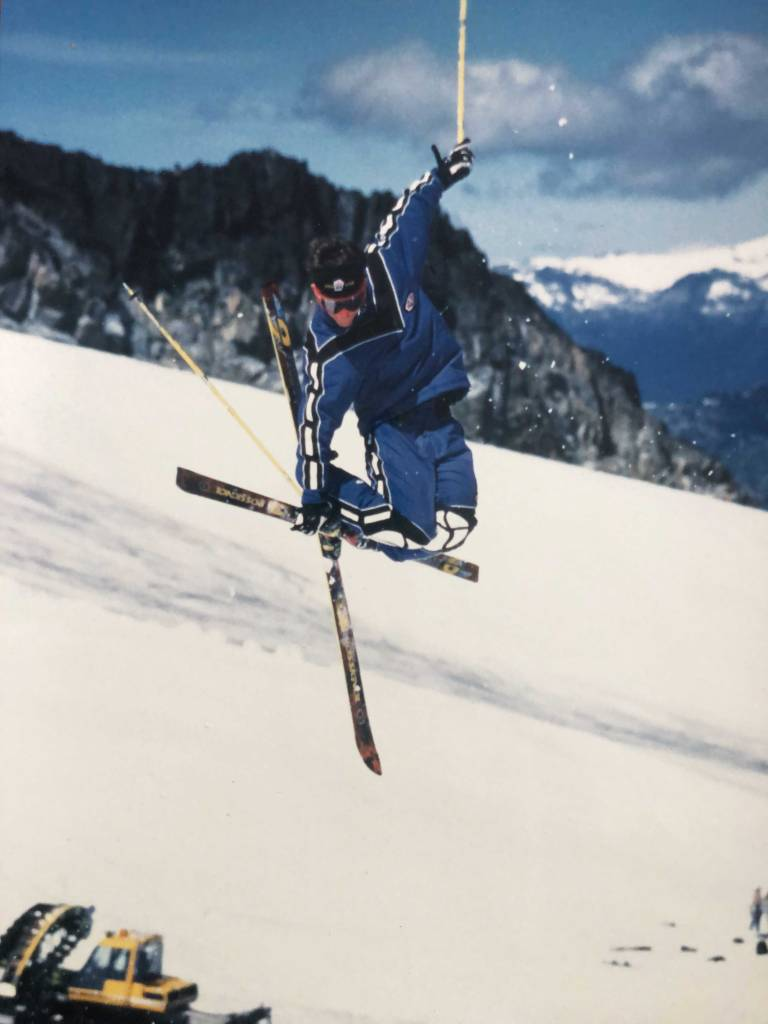 Riley shows off his skills in Blackcomb, Canada, 1999.